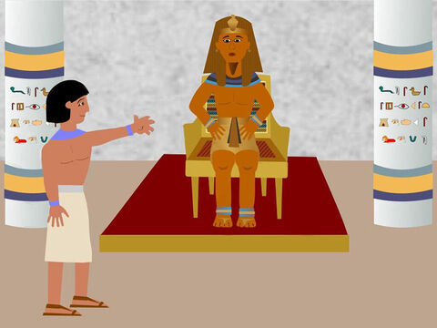 Two years passed and then suddenly Joseph was freed from prison, washed and dressed in clean clothes. This all happened because Pharaoh had a dream and no one could explain it. The butler had remembered how Joseph had explained his dream and told Pharoah about him. – Slide 8