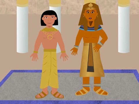 Pharaoh saw that Joseph was very wise and put him in charge of all the grain collection and storehouses. He gave him a ring for his finger and a gold chain to wear around his neck. Everyone had to bow down before Joseph because he was now the second most important person in Egypt after Pharaoh. – Slide 12
