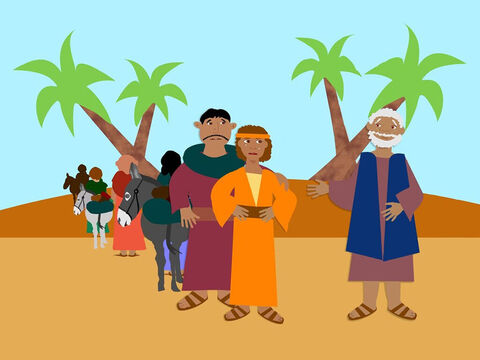 When Jacob and his family had eaten all the grain they brought from Egypt, they were hungry once more. Judah told his father they could return to Egypt and buy more food but Benjamin must return with them. Jacob did not want to let the young man go but in the end, with a sad heart, he said goodbye to him and his other sons. – Slide 1