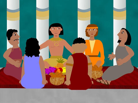 All of the men were seated with Joseph and ate a great meal in his house. He put them in order of their ages and they were all amazed at this. He also gave Benjamin five times more food than the rest of them. They enjoyed themselves very much eating and drinking but none of them realised it was their brother Joseph who was with them. – Slide 4