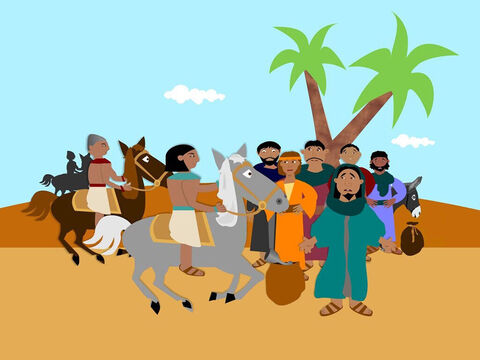 Early that morning as the brothers travelled home Joseph sent the steward after them. When he caught up with them he searched all their sacks and quickly found the silver cup in Benjamin's sack. He said the youngest brother must become the slave of Joseph but all of the men agreed to travel back to Egypt to try and explain that he had done nothing wrong. – Slide 6