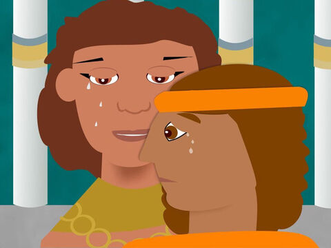 Then Joseph turned to Benjamin and threw his arms around him and both of them cried and cried. Then Joseph hugged all his brothers and told them to return to their father and tell him to come back to Egypt where he would give them all a place to live and be happy. – Slide 9