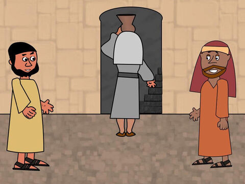 The man finally came to a house and went inside. Peter and John followed and told him what Jesus had said. At once the man showed them a large upper room just as Jesus had told them. They began preparing the room and the food for the Passover meal. – Slide 3