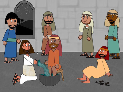 There was no servant to wash the disciples' feet when they arrived. During the Passover meal Jesus wrapped a towel around Him and began to wash the disciples' feet. Jesus told them He wanted them to have the attitude of a servant and be prepared to help each other. 'Love and serve each other as I am serving you now,' Jesus said. – Slide 4