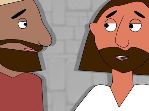 During the Passover meal Jesus said that someone was going to betray Him. All the disciples wondered who He meant. Jesus told Judas, 'Do what you must do quickly.' Judas left the room to go and betray Jesus to the Chief Priests. – Slide 5