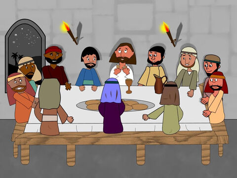 Jesus then took some bread and spoke a blessing. He broke the bread and gave it to the disciples. 'This is my body given to you. Do this to remember Me.' – Slide 6