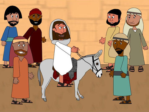 When the disciples returned, they put their coats on the donkey and Jesus sat on it. Then He rode off towards Jerusalem followed by the disciples. – Slide 3