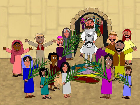 As Jesus travelled towards the city the crowds began to throw their coats and palm branches on to the ground before Him. They shouted loudly, 'Hosanna! Blessed is He who comes in the name of the Lord.' – Slide 4