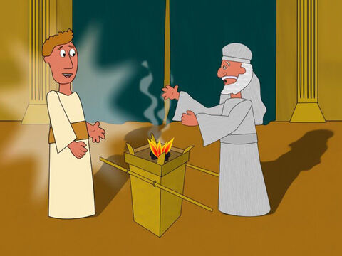 One day, it was Zacharias' turn to burn incense in the temple and while he was there an angel appeared to him. He said that God had heard their prayers and Elizabeth was going to have a baby. Zacharias found this hard to believe and so the angel said, 'You will not be able to speak until the baby is born.' – Slide 2