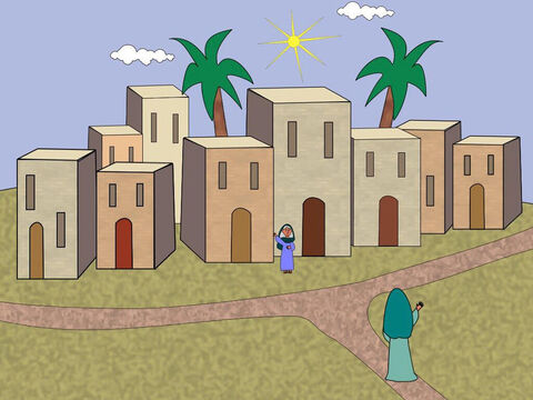 Soon after this Mary went to visit her cousin Elizabeth who lived in the hill country in a city of Judah. – Slide 6