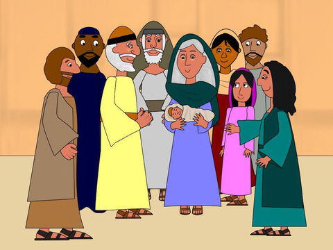 When it was time for Elizabeth's baby to be born she gave birth to a little baby boy. All her family and friends were very happy and gave thanks with Elizabeth and Zacharias for all that God had done for them. – Slide 9