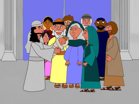 When the baby was eight days old Elizabeth and Zacharias took him to the temple. As part of the ceremony the new baby would be given a name. – Slide 10