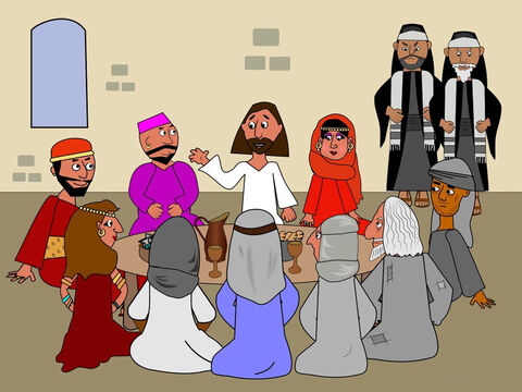 Jesus was having a meal with some friends and telling them about God's love. Some Pharisees who taught God's laws were watching and were cross with Jesus. They knew the people Jesus was eating with had done bad things and they thought He should not be friends with them. – Slide 1