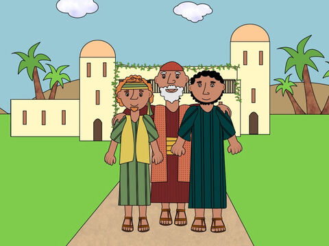 Jesus knew what the Pharisees were thinking and He told a story to explain how God loves everyone. 'Once,' said Jesus, 'there was a man who had two sons. They all lived in a lovely home and were very happy.' – Slide 2