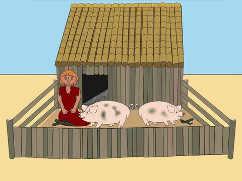 'Now the younger son had no money to buy food or clothes or a place to live. Eventually he found work looking after some pigs but he hated it because it was dirty and smelly. He didn't have enough to eat and he was so hungry he even wanted to eat the pig food.' – Slide 9