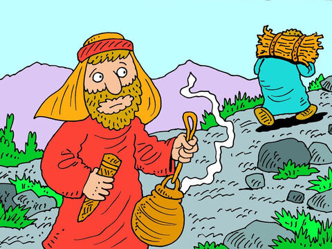 Abraham also took fire in a pot and a knife before setting uphill to build an altar. – Slide 9