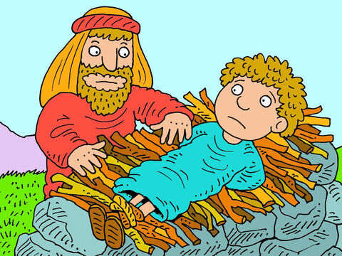 Abraham then laid the wood on the altar then bound his son and put him on top of the wood. Surely Abraham would not hurt the son he loved so much? – Slide 13
