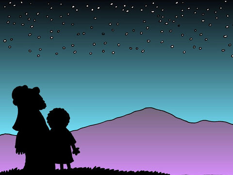 As Abraham had trusted God, even up to the last minute, God promised to give him many descendants as many as there are stars in the sky or rains of sand on the beach. – Slide 19