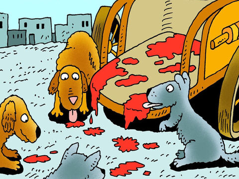 King Ahab died later that evening. Dogs licked the blood off his chariot. He died, just as God said he would. If only he had listened to the Lord! – Slide 24