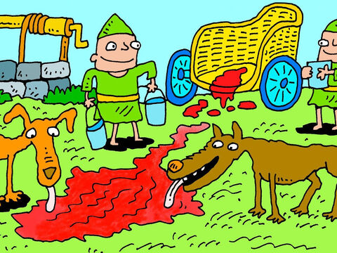 It was washed in the same place that Naboth was killed – and dogs licked Ahab's blood – just as God had said. – Slide 6