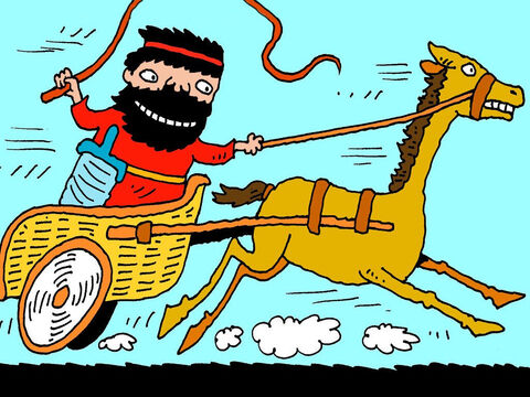 The first member of Ahab's family Jehu went after was Joram. Jehu rode his chariot to face Joram in battle. – Slide 11