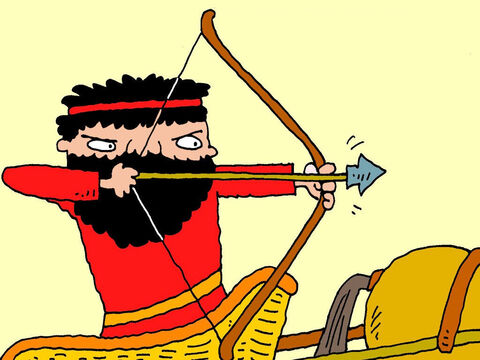 Joram knew he couldn't beat Jehu so he took off in his chariot. Jehu drew back his arrow and took aim … – Slide 13
