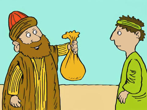 He then took the rest of the money and brought it to Peter and the other apostles. 'I am giving all the money I got from the sale of my field to God,' said Ananias. But God told Peter otherwise. – Slide 4