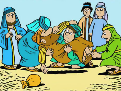 The younger men went right to work and wrapped him up, then carried him out and buried him. – Slide 7