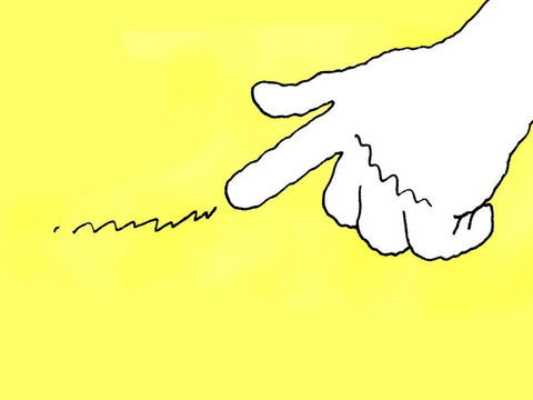 Then a hand appeared and began to write something on the wall. The king was terrified. – Slide 12
