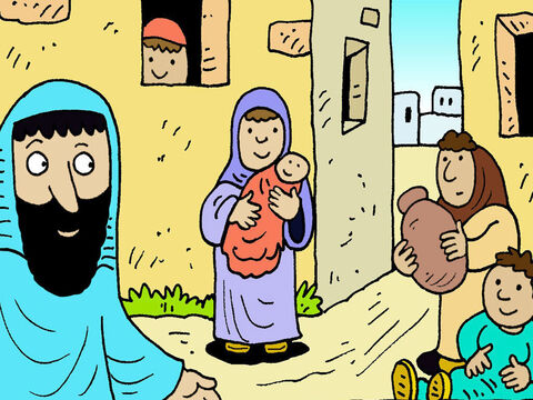 Jesus and His disciples arrived in a village called Bethsaida. – Slide 1