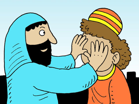 Once more Jesus put His hands on the man's eyes. – Slide 5