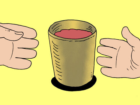 The he passed the cup around the disciples for them all to drink a little. – Slide 6