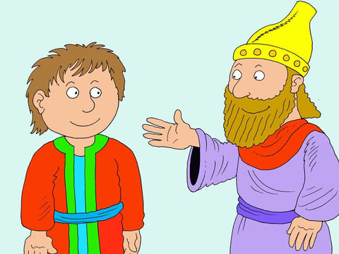 'I have chosen you to be one of my special servants!' said the king.<br/>'I will do my best,' Daniel replied. – Slide 6