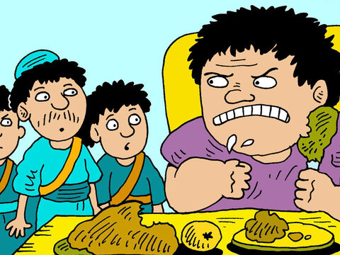 But Nabal was so greedy and selfish he would not share his food with David and his men. He lost his temper and replied with anger, insults and scorn. – Slide 6