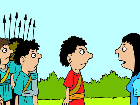 She met David and his men angrily marching towards Nabal's house ready to teach him a lesson. – Slide 11