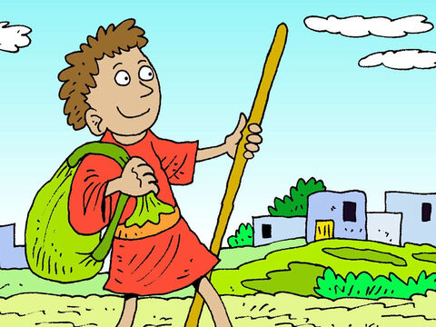 So early the next morning, David set off for the Israelite army camp at Oak Valley in Judah. David left his bundles of food in the care of a sentry, ran to the troops who were deployed, and greeted his brothers. – Slide 2