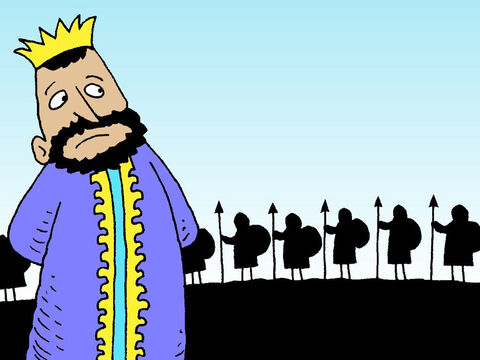King Saul and his Israelite army were assembled on one hill facing the Philistines on the hill opposite. – Slide 3