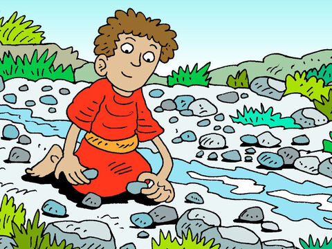 David selected five smooth stones from the brook in the valley, and put four of them in the pocket of his shepherd's pack. – Slide 16