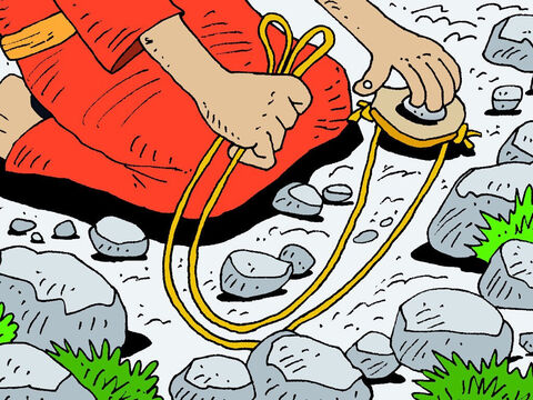 The remaining stone was loaded into his sling. – Slide 17