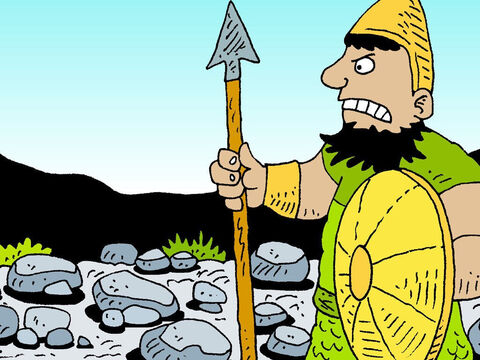 'Am I a dog that you come after me with a stick?' the giant shouted. And he cursed David in the name of his gods. – Slide 19
