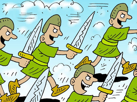 They chased the Philistines all the way to the outskirts of Gath and the gates of Ekron. Wounded Philistines were strewn along the Shaaraim road. After chasing the Philistines, the Israelites came back and looted their camp. – Slide 29