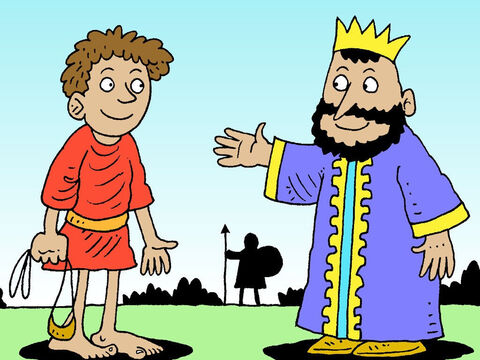 Saul asked David, 'Young man, whose son are you?' <br/>'I'm the son of your servant Jesse from Bethlehem,' said David. Little did King Saul know that one day, this young man who trusted in God, would become the next King of Israel. – Slide 31