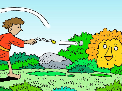 Then let the stone fly out in the direction of the wild animal. – Slide 5