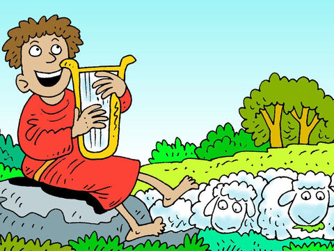 As he watched over them he learnt to play the harp and sang songs of praise to God. Some of his songs are known as psalms and can be found in the Bible. – Slide 9