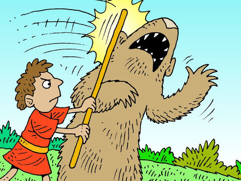 Using his shepherd staff he would attack the bear. – Slide 13