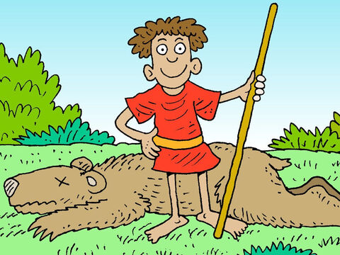David learnt to trust in God to help him protect his sheep from lions and bears. That is why later, he was happy to trust God and take on the Philistine giant, Goliath, who threatened God's people. – Slide 15