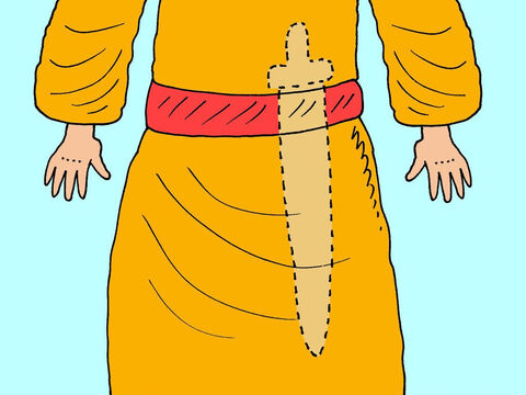 As Ehud was left-handed he wore his double-edged sword on the right hand side so he could draw it quickly. Before he met the king he hid the sword under his garments so no-one would see it. – Slide 8