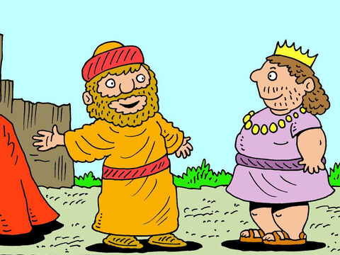 Ehud arranged to see the king out in the open by some quarries. King Eglon was suspicious but he saw no sign of a sword on Ehud's left side so he was happy to come closer. – Slide 9