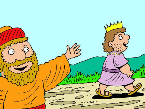 The king thanked Ehud for the tribute and was about to depart when Ehud called to him. 'I have a secret message for you,' said Ehud.<br/>'Meet me at my Summer palace,' King Eglon replied. – Slide 11