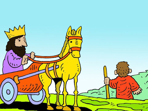 So King Ahab went to eat and drink. Elijah climbed to the top of Mount Carmel with his servant. – Slide 38
